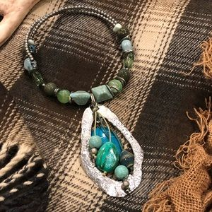 Jewelry - BOHO Turquoise/Silver Choker Pendant Necklace